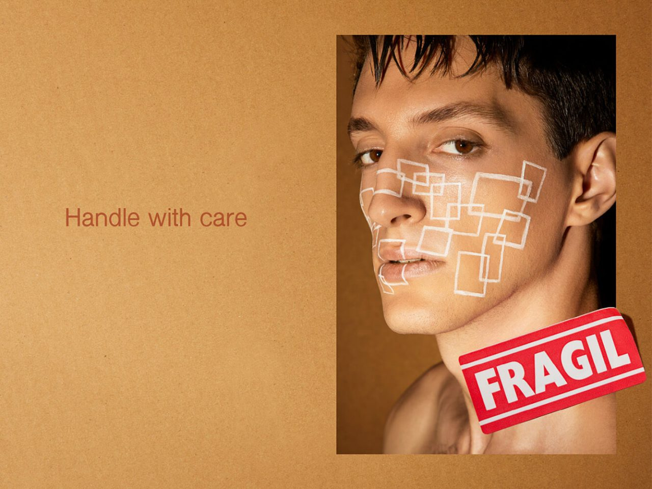 Editorial Handle with Care for Flanelle Magazine - Beauty - man - Portrait with geometry- Fragil Label